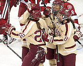Haley Skarupa (BC - 22), Blake Bolden (BC - 10), Dana Trivigno (BC - 8) - The Boston College Eagles defeated the visiting Harvard University Crimson 3-1 in their NCAA quarterfinal matchup on Saturday, March 16, 2013, at Kelley Rink in Conte Forum in Chestnut Hill, Massachusetts.