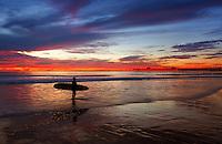 Longboard Surfer at Dusk in San Clemente