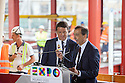 Giuseppe Sala, CEO and Solo Commissioner of Expo 2015, gives a ticket to the Expo Milano 2015 to the Prime Minister, Matteo Renzi, Rho (Milan), August 13, 2014. &copy; Carlo Cerchioli <br /> <br /> Giuseppe Sala, Commissario unico e CEO di Expo 2015, regala un biglietto d'ingresso a Expo 2015 al Presidente del consiglio Matteo Renzi, Rho (Milano), 13 agosto 2014.