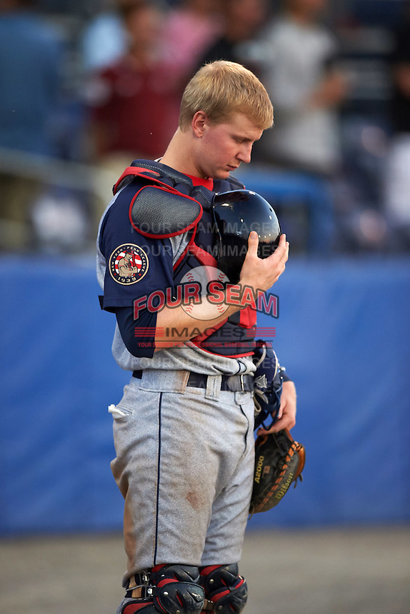 "Brooklyn Cyclones catcher Dan Rizzie (33) on the field for ""God Bless America"" in the seventh inning during a game against the Batavia Muckdogs on July 5, 2016 at Dwyer Stadium in Batavia, New York.  Brooklyn defeated Batavia 5-1.  (Mike Janes/Four Seam Images)"