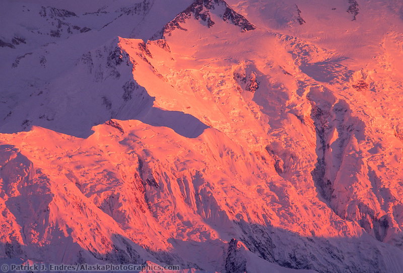 Pink Alpenglow On Pioneer Ridge Of Mt. Denali, Denali National Park, Alaska