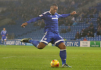 Kenneth Zohore of Cardiff City has a shot on goal during the Sky Bet Championship match between Cardiff City and Preston North End at Cardiff City Stadium, Wales, UK. Tuesday 31 January 2017