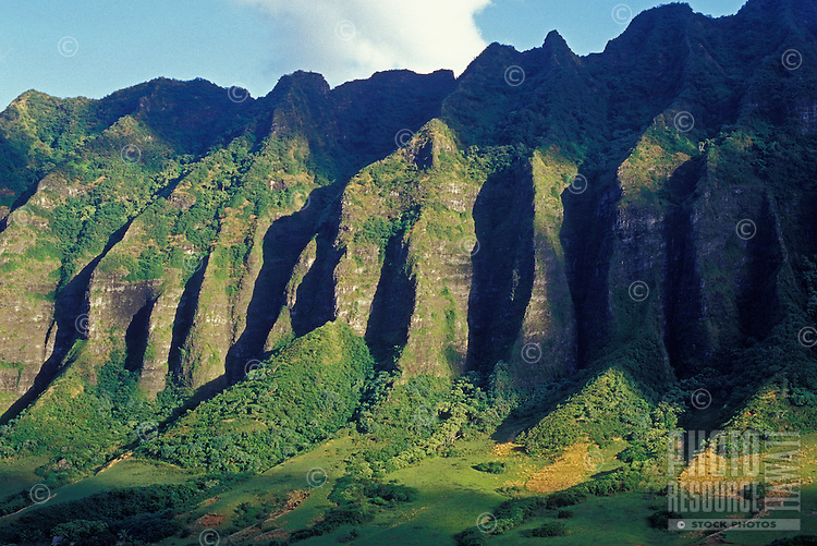 Crenelated mountain range at Kualoa Ranch, windward Oahu