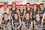 Gaelscoil Aogain Castleisland team that lost the Senior National Schools girls final on Tuesday front row l-r: Kelly Burke, Catriona McCarthy, Clair Brosnan captain, Ciara Walsh. Back row: Joanne Walmsley, Aoileann Fitzgerald, Roisin Casey, Derval Sheehy, Aisling O'Connell and Bronagh Finnegan