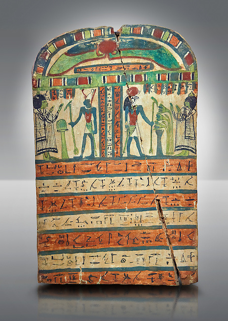 Ancient Egyptian voitive stele of Takasu for the Gods Harmakhis and Atun from Thebes. Ancient Egypt 25/26 Dynaty, 630 BC. Neues Museum Berlin Cat No: AM 935.