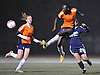 Yamilee Eveillard #23 of Valley Stream North makes an acrobatic kick during the second of two varsity girls soccer all-star games pitting the Suffolk County seniors against their Nassau counterparts at Bethpage High School on Friday, Nov. 25, 2016.