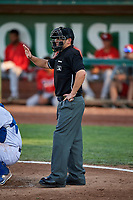 Home plate umpire Phil Bando during the game between the Ogden Raptors and the Orem Owlz at Lindquist Field on September 2, 2017 in Ogden, Utah. Ogden defeated Orem 16-4. (Stephen Smith/Four Seam Images)