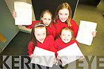 UPCOMING STARS:  Members of the Tim Landers Stage School have had a recall for the professional production of Annie taking place in the Cork Opera House in July. Front l-r were: Zoe Riordan and Alannah Norgrove. Back l-r were Amber Flood and Kimberly Harris.