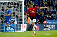 Manchester United's Marcus Rashford celebrates scoring his side's first goal <br /> <br /> Photographer Hannah Fountain/CameraSport<br /> <br /> The Premier League - Leicester City v Manchester United - Sunday 3rd February 2019 - King Power Stadium - Leicester<br /> <br /> World Copyright © 2019 CameraSport. All rights reserved. 43 Linden Ave. Countesthorpe. Leicester. England. LE8 5PG - Tel: +44 (0) 116 277 4147 - admin@camerasport.com - www.camerasport.com