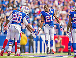 21 September 2014: Buffalo Bills cornerback Leodis McKelvin is greeted on field prior to facing the San Diego Chargers at Ralph Wilson Stadium in Orchard Park, NY. The Chargers defeated the Bills 22-10 in AFC play. Mandatory Credit: Ed Wolfstein Photo *** RAW (NEF) Image File Available ***