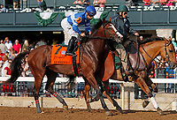 """October 07, 2018 : #7 Mr Wrench It and jockey Albin Jimenez before running in the 28th running of The Dixiana Bourbon (Grade 3) $250,000 """"Win and You're In Breeders' Cup Juvenile Turf Division"""" at Keeneland Race Course on October 07, 2018 in Lexington, KY.  Candice Chavez/ESW/CSM"""