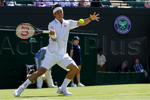 29.06.2015.  Wimbledon, England. The Wimbledon Tennis Championships. Gentlemen's Singles first round match between fifth seed Kei Nishikori (JPN) & Simone Bolelli (ITA).  Kei Nishikori in action