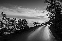 Regnvåt väg i solsken vid havet i november vid Nynäshamn i Stockholms skärgård i svartvitt