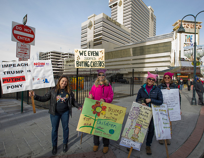 Beth Curtin, Elena Nyhan,Jody Burrill and Patty Cardoza during the 3rd Annual Reno Women's March in downtown Reno on Saturday, January 19, 2019.