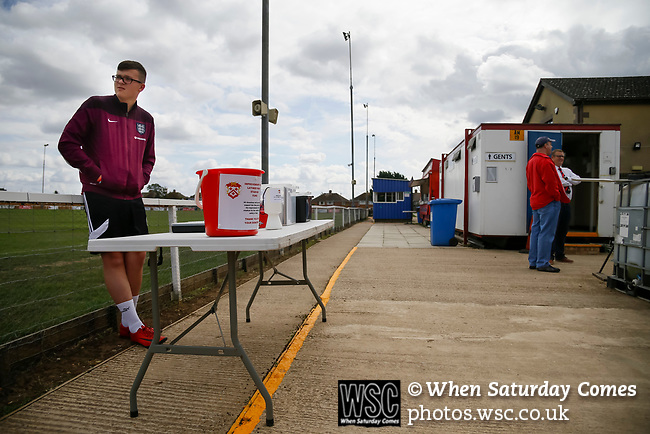 The donations bucket. Kettering Town 1 Leiston 2, Evo Stick Southern League Premier Central, Latimer Park.<br /> Kettering Town are a famous name in non-league football. After financial problems, relegations, and relocation, the club are once again upwardly mobile. Despite losing to Leiston, Kettering finished the season as Champions and were promoted to the National League North. Kettering Town are a famous name in non-league football. After financial problems, relegations, and relocation, the club are once again upwardly mobile. Despite losing to Leiston, Kettering finished the season as Champions and were promoted to the National League North.