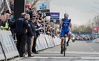 Yves Lampaert (BEL/QuickStep Floors) winning the biggest race of his career so far<br /> <br /> 72nd Dwars Door Vlaanderen (1.UWT)<br /> 1day race: Roeselare &rsaquo; Waregem BEL (203.4km)