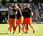 Billy Sharp of Sheffield Utd in mobbed after scoring the second goal during the English League One match at  Stadium MK, Milton Keynes. Picture date: April 22nd 2017. Pic credit should read: Simon Bellis/Sportimage