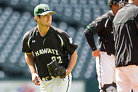 Hawaii Rainbow Warriors pitcher LJ Brewster (22) after being removed from the game in Houston College Classic against the Baylor Bears on March 6, 2015 at Minute Maid Park in Houston, Texas. Hawaii defeated Baylor 2-1. (Andrew Woolley/Four Seam Images)