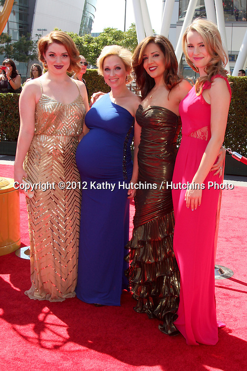 LOS ANGELES - SEP 15:  Jennifer Stone, Leigh-Allyn Baker, Maria Canals-Barrera, Bridget Mendler arrives at the  Primetime Creative Emmys 2012 at Nokia Theater on September 15, 2012 in Los Angeles, CA