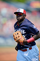 Reading Fightin Phils left fielder Cornelius Randolph (2) jogs off the field during the first game of a doubleheader against the Portland Sea Dogs on May 15, 2018 at FirstEnergy Stadium in Reading, Pennsylvania.  Portland defeated Reading 8-4.  (Mike Janes/Four Seam Images)