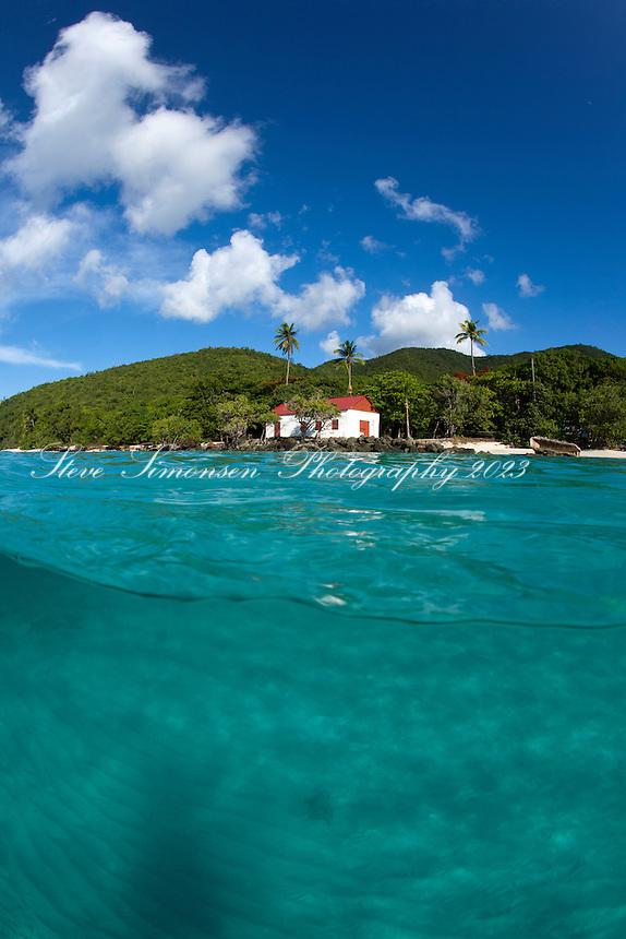 Split level view of Cinnamon Bay<br /> Virgin Islands National Park<br /> St. John<br /> U.S. Virgin Islands