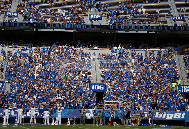 The student section at Commonwealth Stadium with five and a half minutes left on the clock against Central Michigan University, on Saturday, September 10, 2011. It was the first game since UK changed the student ticket policy to first come, first serve. Photo by Latara Appleby | Staff ..