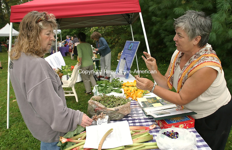 LITCHFIELD; CT; 24 SEPTEMBER 2006; 092406BZ01-  Lee Preston, of Morris, listens as  Elaine Frost, of Frostfire Farm in Goshen, right,  talks about Eqyptian Onion Top Set Bulbs at a community health fair called &quot;Shades of Green&quot; at Amazing Grains, a natural food store, in Litchfield Sunday.<br />  Jamison C. Bazinet Republican-American