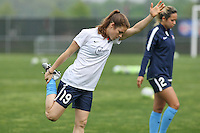 Piscataway, NJ, May 13, 2016. Sky Blue defender Kelley O'Hara (19) warms up prior to their match with the Boston Breakers. Sky Blue FC defeated the Boston Breakers, 1-0, in a National Women's Soccer League (NWSL) match at Yurcak Field.