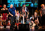 REASONS TO BE CHEERFUL by Sirett;<br /> Stephen Collins as Colin;<br /> Beth Hinton-Lever as Janine;<br /> John Kelly as John - lead vocals;<br /> Louis Schultz-Wiremu - as Louis - saxophone;<br /> Jude Mahon as Debbie - sign language interpreter;<br /> Wayne 'Pickles' Norman as Pickles - audio describer;<br /> Directed by Sealey;<br /> Associate director: Beeton;<br /> Writer: Sirett;<br /> Designer: Ashcroft;<br /> Assistant designer: Charlesworth;<br /> Lighting designer: Scott;<br /> Sound designer: Gibson;<br /> Musical director: Hickman;<br /> Choreographer: Smith;<br /> Video designer: Haig;<br /> Projection design: Mclean; <br /> Music supervisor and Arrangements: Hyman;<br /> Voice coach: Holt; Casting: Hughes CDG<br /> BSL consultant: Jackson<br /> Audio description consultant: Oshodi<br /> Graeae Theatre Company;<br /> at The Belgrade Theatre, Coventry, UK;<br /> 8 September 2017;<br /> Credit: Patrick Baldwin;