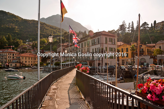 Menaggio, Italy on Lake Como with a view of the marina and waterfront