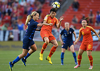 Cleveland, Ohio - Tuesday June 12, 2018: Samantha Mewis, Li Ying  during an international friendly match between the women's national teams of the United States (USA) and China PR (CHN) at FirstEnergy Stadium.