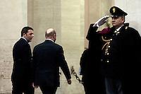 Matteo Renzi e  Martin Schulz<br /> Roma 27-02-2014 Palazzo Chigi. Il Presidente del Consiglio incontra il Presidente del Parlamento Europeo.<br /> Italian Premier meets the President of the european Parliament<br /> Photo Samantha Zucchi Insidefoto
