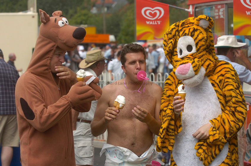 Photo. Glyn Thomas. .England v West Indies. Second nPower Test. .Edgbaston, Birmingham..31/07/2004..England fans in fancy dress...