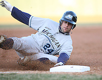 April 4, 2008:  West Michigan Whitecaps starting catcher Jordan Newton (24) slides safely into third against the South Bend SilverHawks at Coveleski Stadium in South Bend, IN.  Photo by: Chris Proctor/Four Seam Images