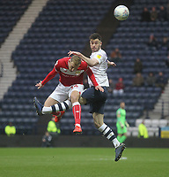 Preston North End's Jordan Storey jumps with Bristol City's Andreas Weimann<br /> <br /> Photographer Mick Walker/CameraSport<br /> <br /> The EFL Sky Bet Championship - Preston North End v Bristol City - Saturday 2nd March 2019 - Deepdale Stadium - Preston<br /> <br /> World Copyright © 2019 CameraSport. All rights reserved. 43 Linden Ave. Countesthorpe. Leicester. England. LE8 5PG - Tel: +44 (0) 116 277 4147 - admin@camerasport.com - www.camerasport.com