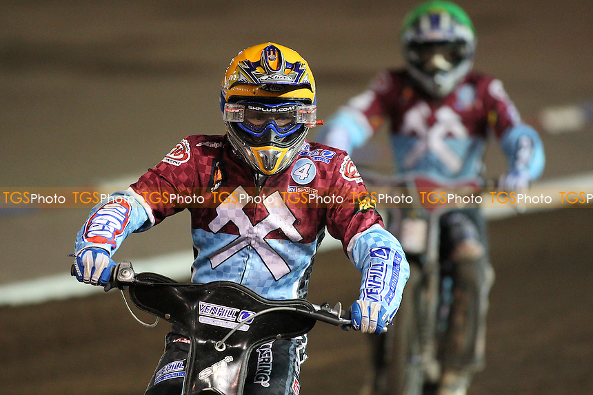 Davidsson (yellow) and Nieminen after heat 10 - Coventry Bees vs Lakeside Hammers - Elite League Speedway Knockout Cup Final 2nd Leg at Brandon Stadium - 23/10/09 - MANDATORY CREDIT: Gavin Ellis/TGSPHOTO - Self billing applies where appropriate - Tel: 0845 094 6026