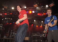 , 2002 File Photo<br /> <br /> Rock group Simple Plan  in concert<br /> <br /> <br /> (Mandatory Credit: Photo by Sevy - Images Distribution (&copy;) Copyright 2002 by Sevy<br /> <br /> NOTE :  D-1 H original JPEG, saved as Adobe 1998 RGB
