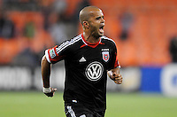 D.C. United forward Santos Maicon (29) celebrates his score. D.C. United tied The Montreal Impact 1-1, at RFK Stadium, Wednesday April 18 , 2012.