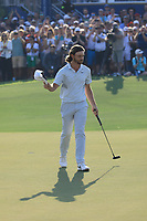 Tommy Fleetwood (ENG) in action on the 18th green during the final round of the DP World Championship, Earth Course, Jumeirah Golf Estates, Dubai, UAE. 24/11/2019<br /> Picture: Golffile | Phil INGLIS<br /> <br /> <br /> All photo usage must carry mandatory copyright credit (© Golffile | Phil INGLIS)