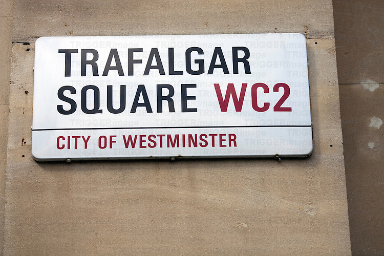Trafalgar Square sign, London, England, United Kingdom