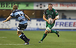 Connacht lock Mike Swift takes on Blues center Owen Williams.<br /> RaboDirect Pro 12<br /> Cardiff Blues v Connacht<br /> Cardiff Arms Park<br /> 13.09.13<br /> <br /> &copy;Steve Pope-SPORTINGWALES