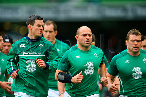 19.03.2016. Aviva Stadium, Dublin, Ireland. RBS Six Nations Championships. Ireland versus Scotland.<br /> Jonathan Sexton (Ireland) and Rory Best (Captain Ireland) lead the warmup lap.