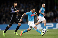 Football Soccer: UEFA Champions League Round of 16 second leg, Napoli-Real Madrid, San Paolo stadium, Naples, Italy, March 7, 2017. <br /> Real Madrid's Faouzi Ghoulam (r) in action with Real Madrid's Casemiro (l) during the Champions League football soccer match between Napoli and Real Madrid at the San Paolo stadium, 7 March 2017. <br /> Real Madrid won 3-1 to reach the quarter-finals.<br /> UPDATE IMAGES PRESS/Isabella Bonotto