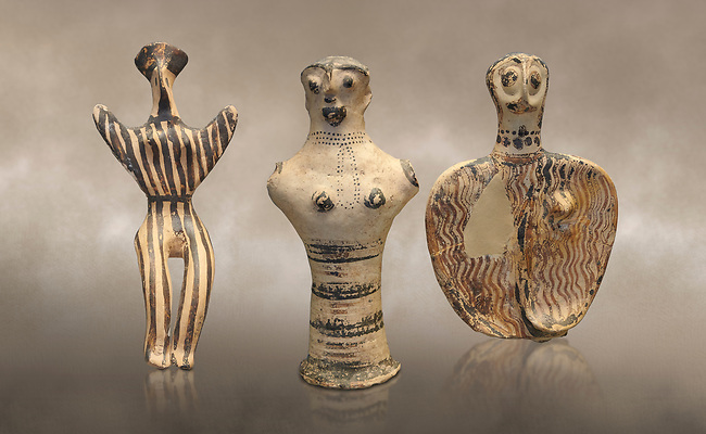 Mycenaean female figurines  from Mycenae tombs, Archaeological Museum Athens. <br /> <br /> Left: Seated Mycenaean female figurine with raies arms, from Mycenae tomb 91,  Cat No 3193. <br /> <br /> Middle: Hollow Mycenaean female figurine, adorant, wearing a necklace, from Mycenae tomb 40,  Cat No 2494. <br /> <br /> Right: Upper part of a Mycenaean female figurine with stylised arms wearing a necklace, from Mycenae tomb 101,  Cat No 4690