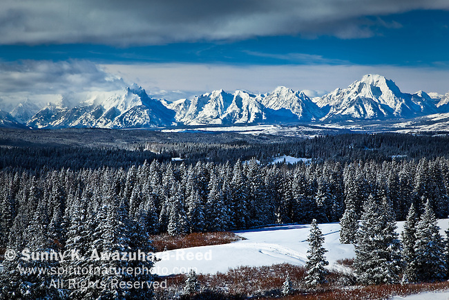 Grand Teton Ranges from Togwotee Pass, Bridger Teton National Forest, WY under the storm clouds.  Forest and meadow are in the foreground.  Winter Scene.