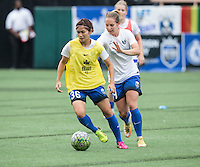 Seattle, WA - Saturday July 16, 2016: Nahomi Kawasumi, Manon Melis prior to a regular season National Women's Soccer League (NWSL) match between the Seattle Reign FC and the Western New York Flash at Memorial Stadium.