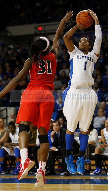 UK forward A'dia Mathies shoots a 3-point shot during the second half of the women's basketball game vs. Georgia Memorial Coliseum , in Lexington, Ky., on Sunday, February 03, 2013. Photo by Genevieve Adams    Staff.