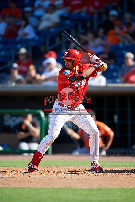 Philadelphia Phillies first baseman Darick Hall (85) at bat during a Grapefruit League Spring Training game against the Baltimore Orioles on February 28, 2019 at Spectrum Field in Clearwater, Florida.  Orioles tied the Phillies 5-5.  (Mike Janes/Four Seam Images)