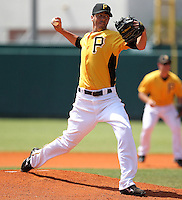 Pittsburgh Pirates pitcher Jeff Karstens #27 delivers a pitch during a spring exhibition game against the Netherlands National Team at the Al Lang Field on March 12, 2012 in St. Petersburg, Florida.  (Mike Janes/Four Seam Images)