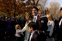 Justin Trudeau,  Prime Minister-designate, his wife Sophie Gregoire ,their children  and members of the 29th Canadian ministry on the grounds of Rideau Hall in Ottawa, Ontario, on Wednesday, November 4, 2015.<br /> <br /> PHOTO : Pierre Roussel<br /> - Agence Quebec Presse